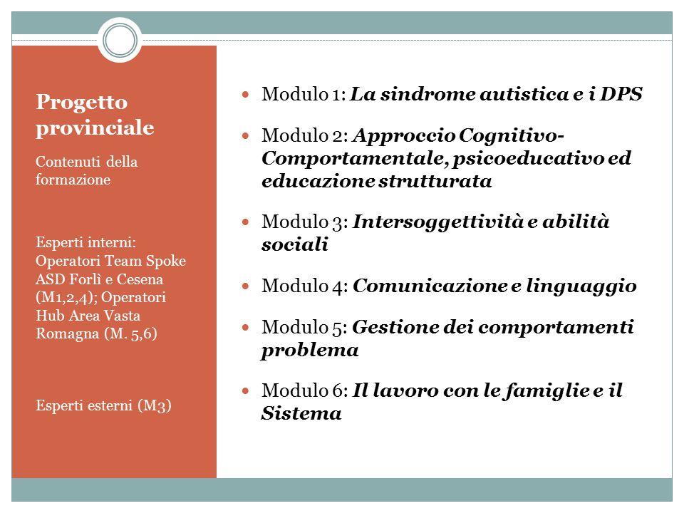 Progetto provinciale Contenuti della formazione Esperti interni: Operatori Team Spoke ASD Forlì e Cesena (M1,2,4); Operatori Hub Area Vasta Romagna (M