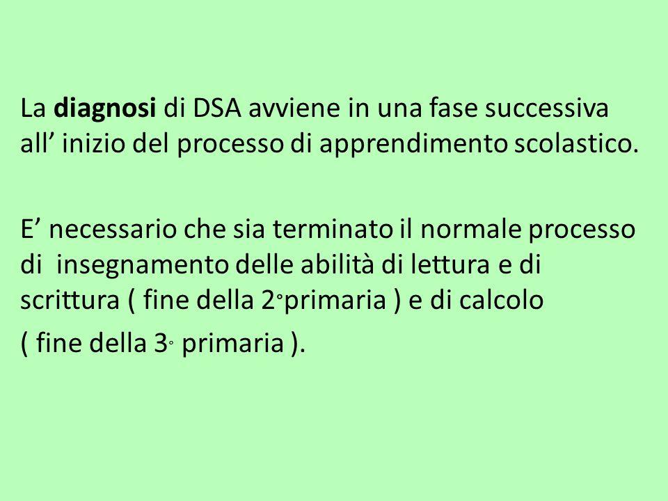 La diagnosi di DSA avviene in una fase successiva all' inizio del processo di apprendimento scolastico. E' necessario che sia terminato il normale pro