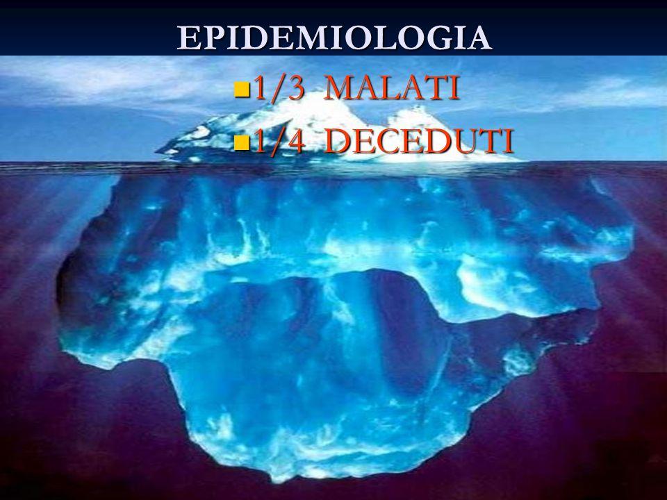 EPIDEMIOLOGIA 1/3 MALATI 1/3 MALATI 1/4 DECEDUTI 1/4 DECEDUTI