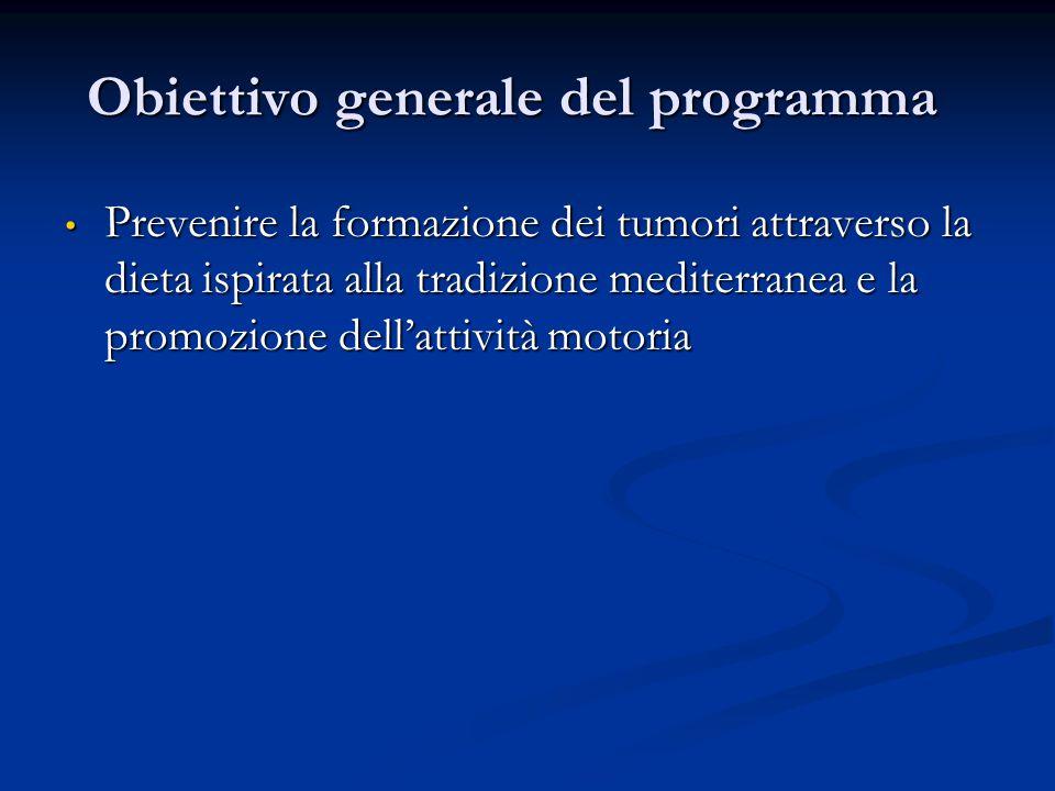 Obiettivo generale del programma Prevenire la formazione dei tumori attraverso la dieta ispirata alla tradizione mediterranea e la promozione dell'attività motoria Prevenire la formazione dei tumori attraverso la dieta ispirata alla tradizione mediterranea e la promozione dell'attività motoria
