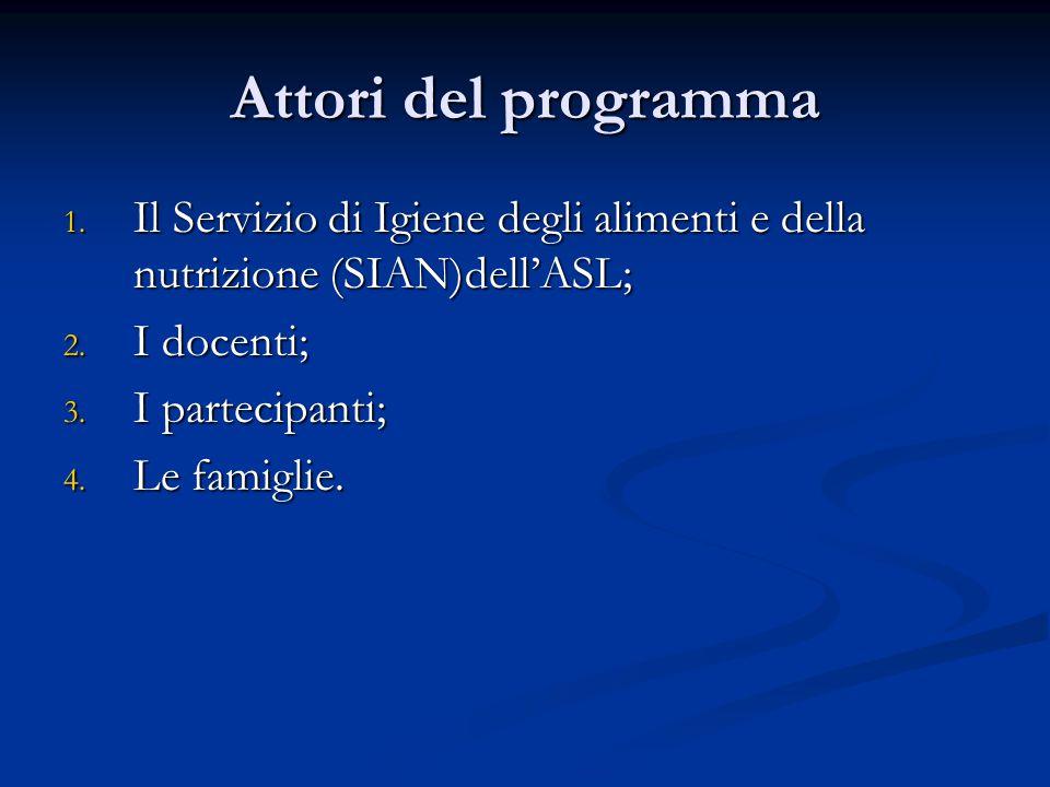 Attori del programma 1. Il Servizio di Igiene degli alimenti e della nutrizione (SIAN)dell'ASL; 2.