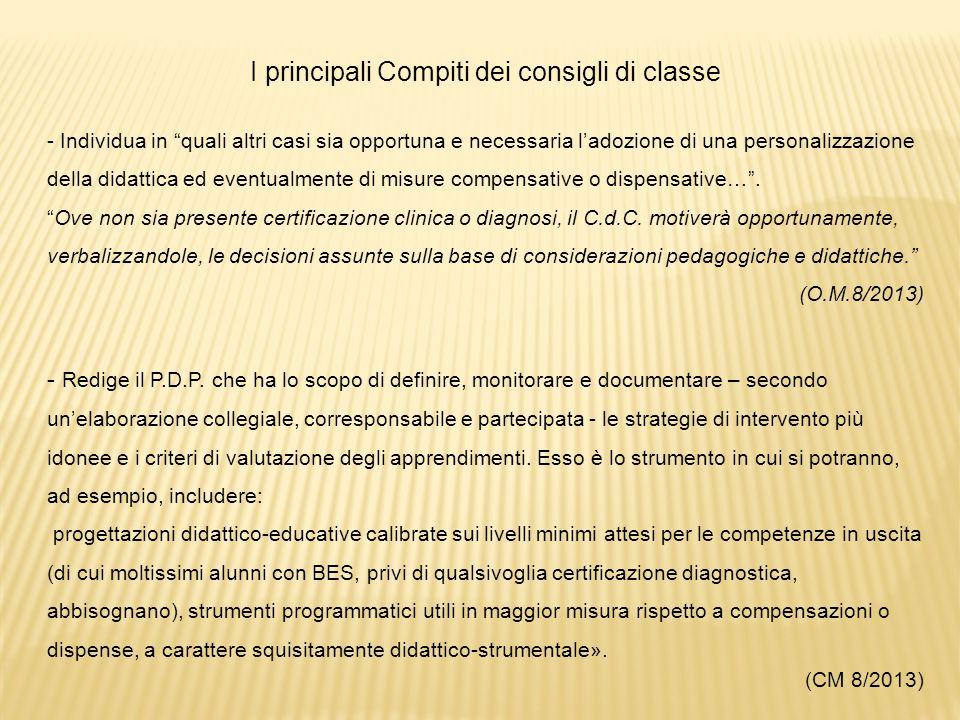 I principali Compiti dei consigli di classe - Individua in quali altri casi sia opportuna e necessaria l'adozione di una personalizzazione della didattica ed eventualmente di misure compensative o dispensative… .