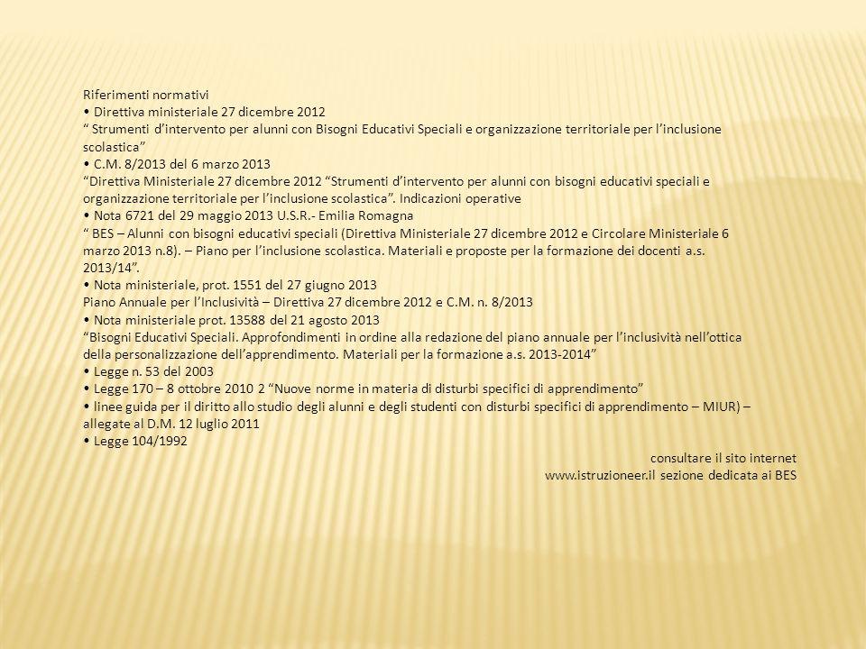 Riferimenti normativi Direttiva ministeriale 27 dicembre 2012 Strumenti d'intervento per alunni con Bisogni Educativi Speciali e organizzazione territoriale per l'inclusione scolastica C.M.