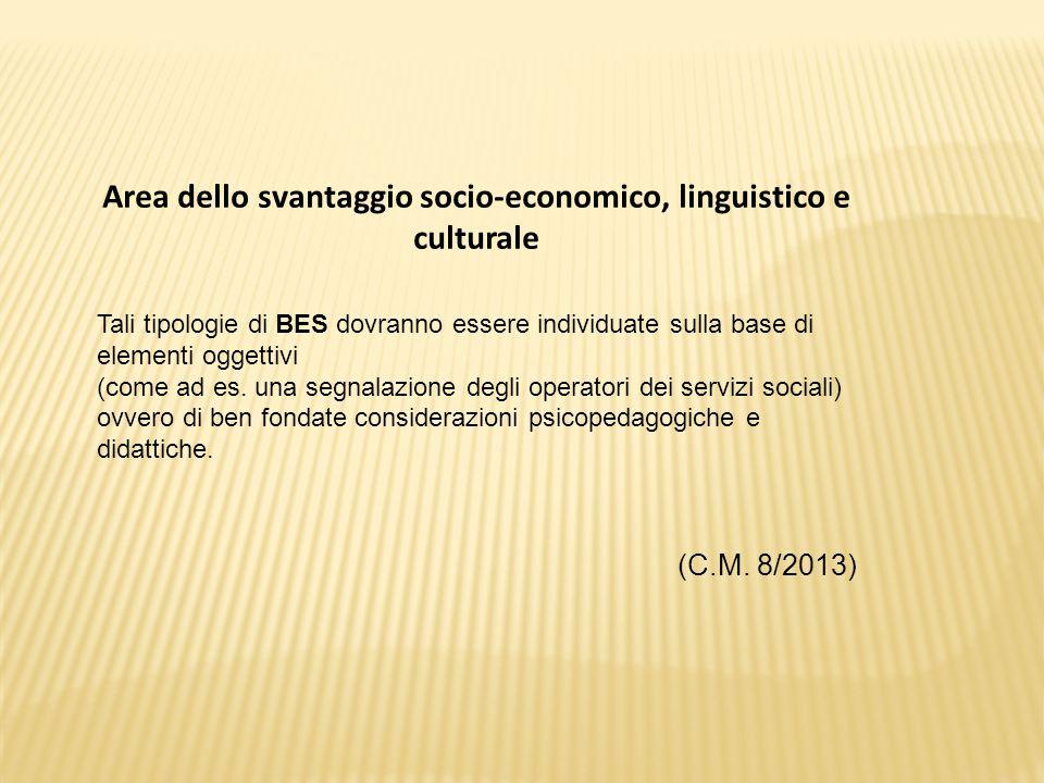 Area dello svantaggio socio-economico, linguistico e culturale Tali tipologie di BES dovranno essere individuate sulla base di elementi oggettivi (come ad es.