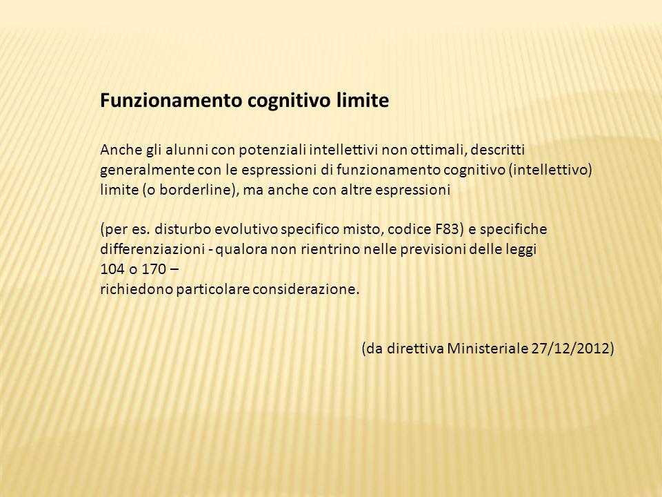 Funzionamento cognitivo limite Anche gli alunni con potenziali intellettivi non ottimali, descritti generalmente con le espressioni di funzionamento cognitivo (intellettivo) limite (o borderline), ma anche con altre espressioni (per es.
