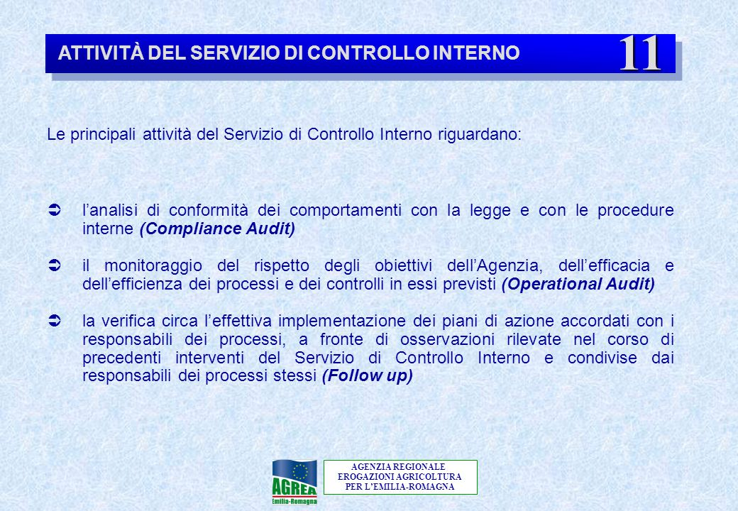 AGENZIA REGIONALE EROGAZIONI AGRICOLTURA PER L'EMILIA-ROMAGNA ATTIVITÀ DEL SERVIZIO DI CONTROLLO INTERNO Le principali attività del Servizio di Contro