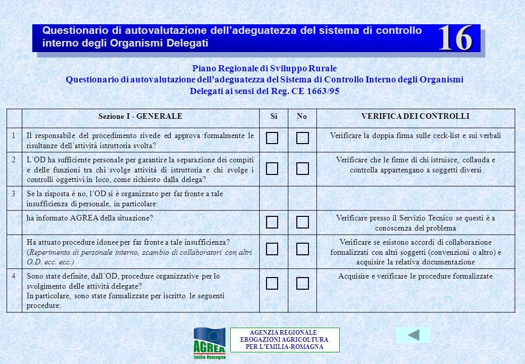AGENZIA REGIONALE EROGAZIONI AGRICOLTURA PER L'EMILIA-ROMAGNA Piano Regionale di Sviluppo Rurale Questionario di autovalutazione dell'adeguatezza del