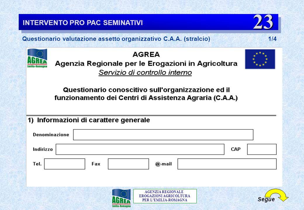 AGENZIA REGIONALE EROGAZIONI AGRICOLTURA PER L'EMILIA-ROMAGNA Segue INTERVENTO PRO PAC SEMINATIVI Questionario valutazione assetto organizzativo C.A.A