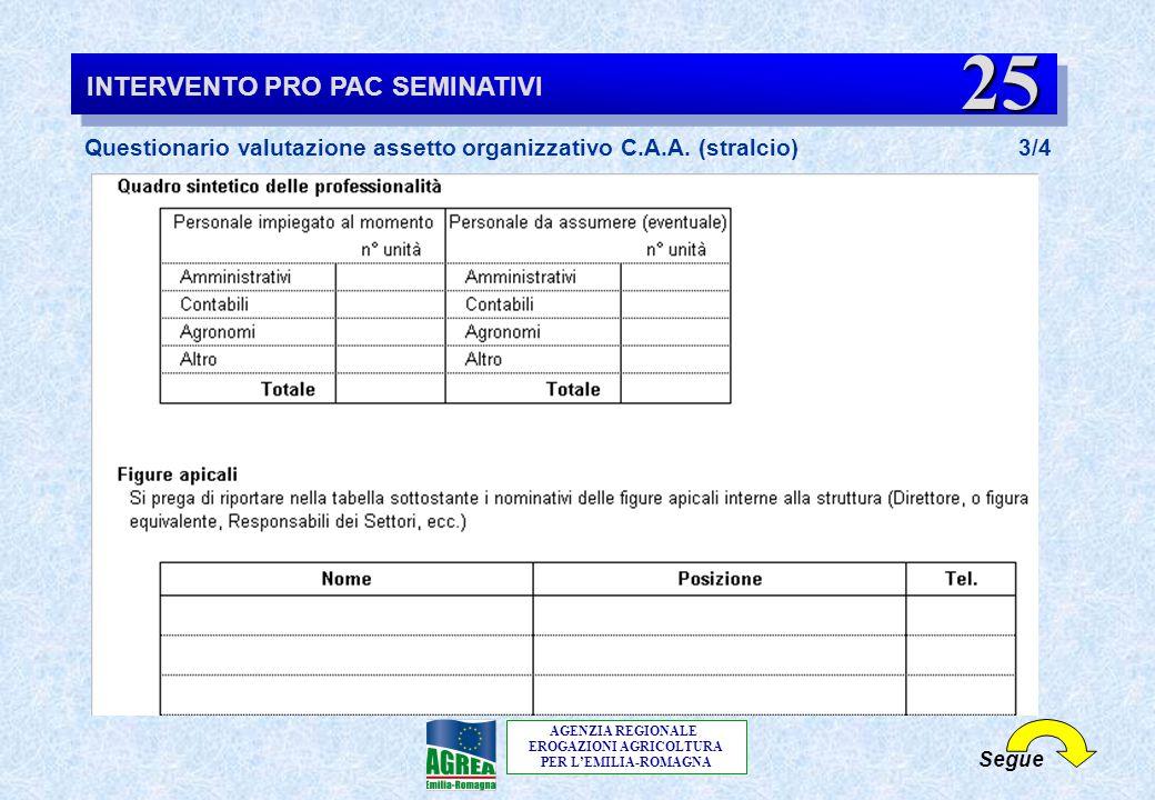 AGENZIA REGIONALE EROGAZIONI AGRICOLTURA PER L'EMILIA-ROMAGNA INTERVENTO PRO PAC SEMINATIVI Questionario valutazione assetto organizzativo C.A.A. (str
