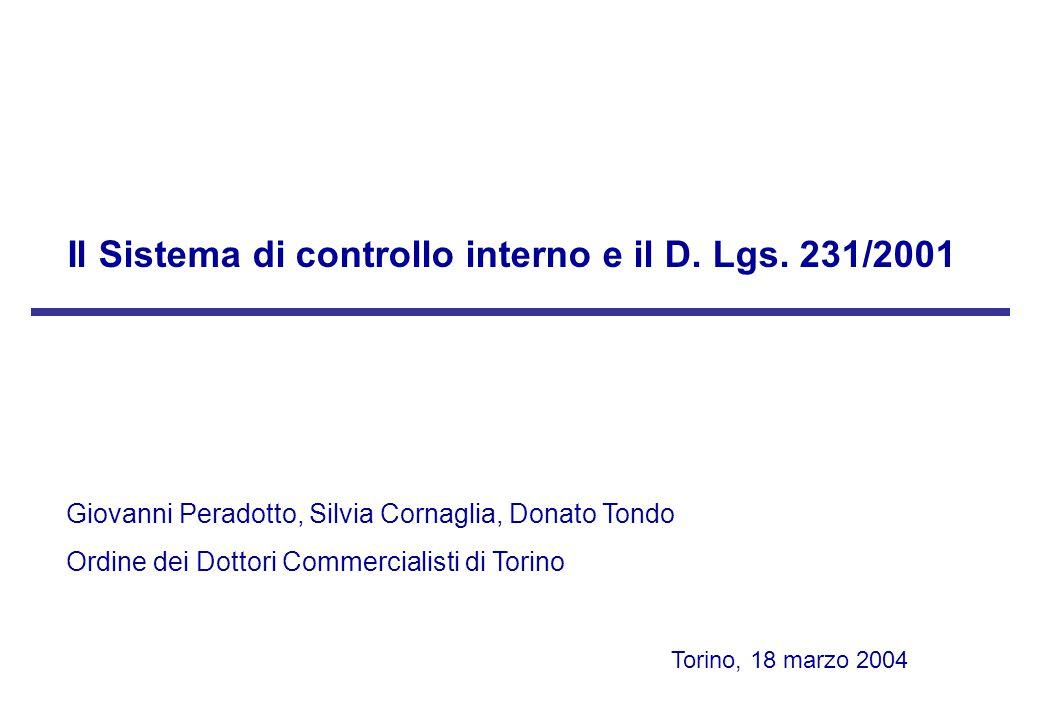 Torino, 18 marzo 2004 L'ambiente di controllo costituisce le fondamenta della piramide di controllo: quale condizione necessaria, ancorché non sufficiente, per garantire l'efficacia del sistema di controllo interno; quale elemento probatorio della volontà dell'ente e dello sforzo profuso per la prevenzione dei reati (cfr.