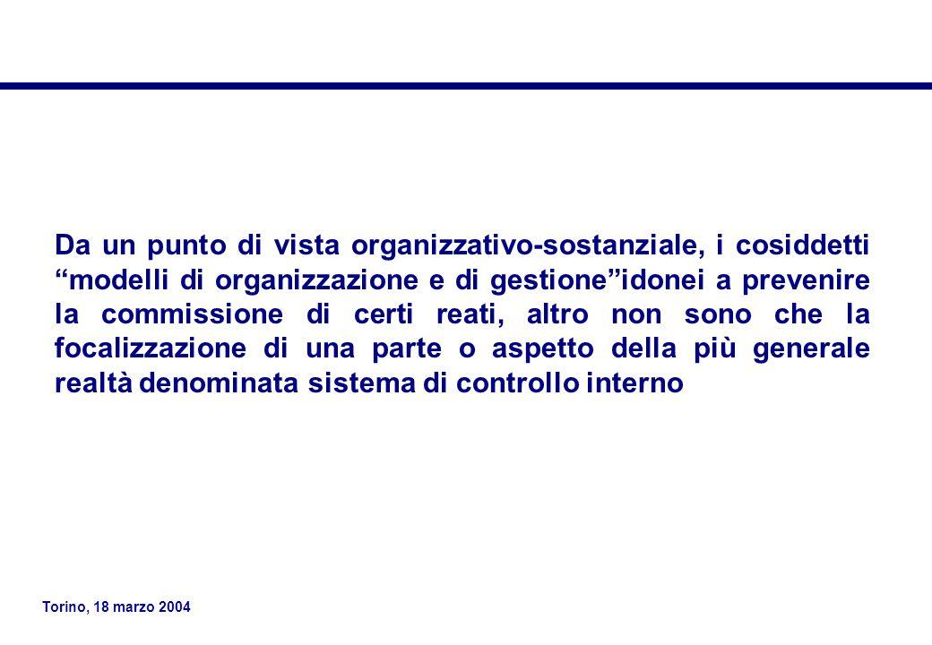 Torino, 18 marzo 2004 Da un punto di vista organizzativo-sostanziale, i cosiddetti modelli di organizzazione e di gestione idonei a prevenire la commissione di certi reati, altro non sono che la focalizzazione di una parte o aspetto della più generale realtà denominata sistema di controllo interno
