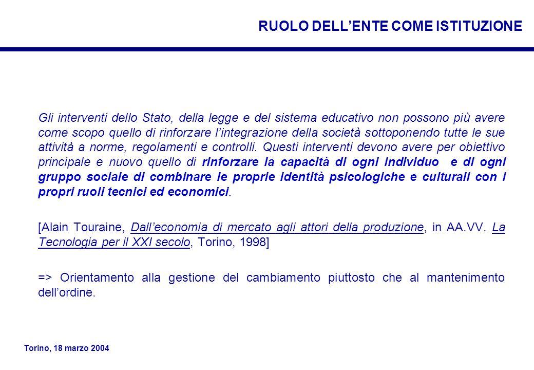 Torino, 18 marzo 2004 Gli interventi dello Stato, della legge e del sistema educativo non possono più avere come scopo quello di rinforzare l'integrazione della società sottoponendo tutte le sue attività a norme, regolamenti e controlli.