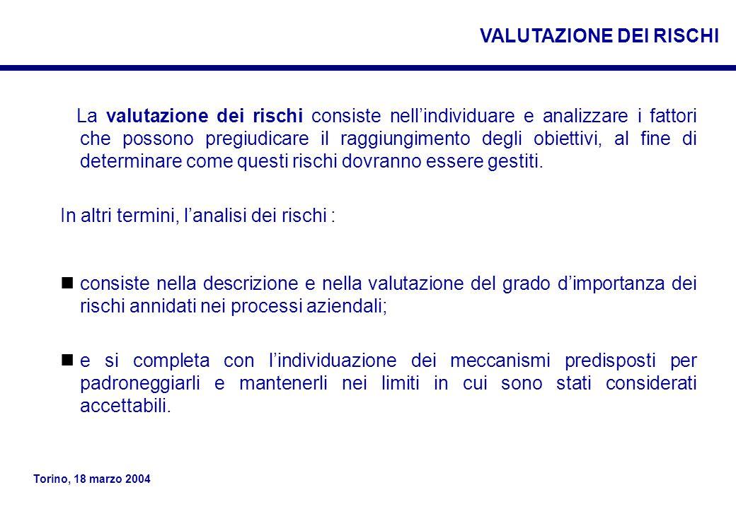 Torino, 18 marzo 2004 La valutazione dei rischi consiste nell'individuare e analizzare i fattori che possono pregiudicare il raggiungimento degli obiettivi, al fine di determinare come questi rischi dovranno essere gestiti.