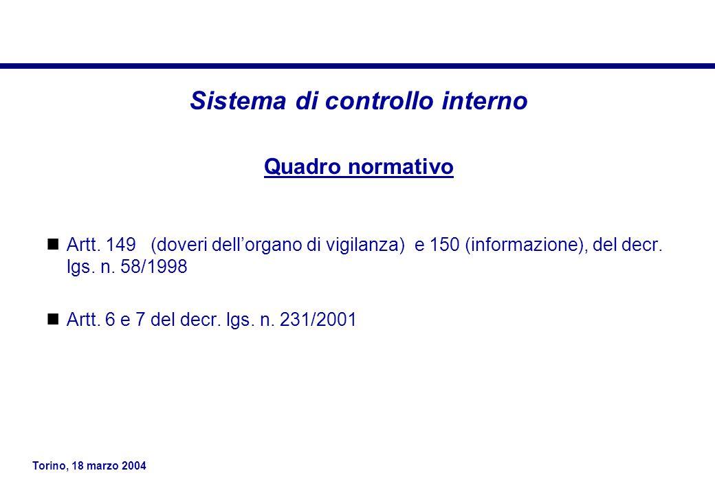 Torino, 18 marzo 2004 Sistema di controllo interno Quadro normativo Artt.