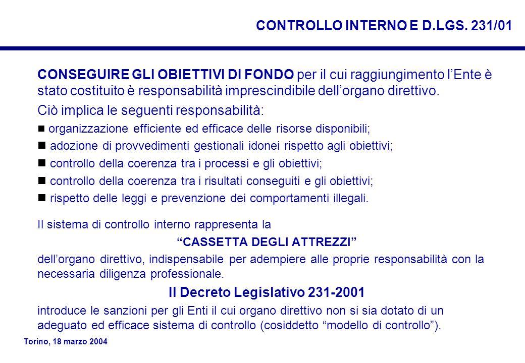 Torino, 18 marzo 2004 CONTROLLO INTERNO E D.LGS.
