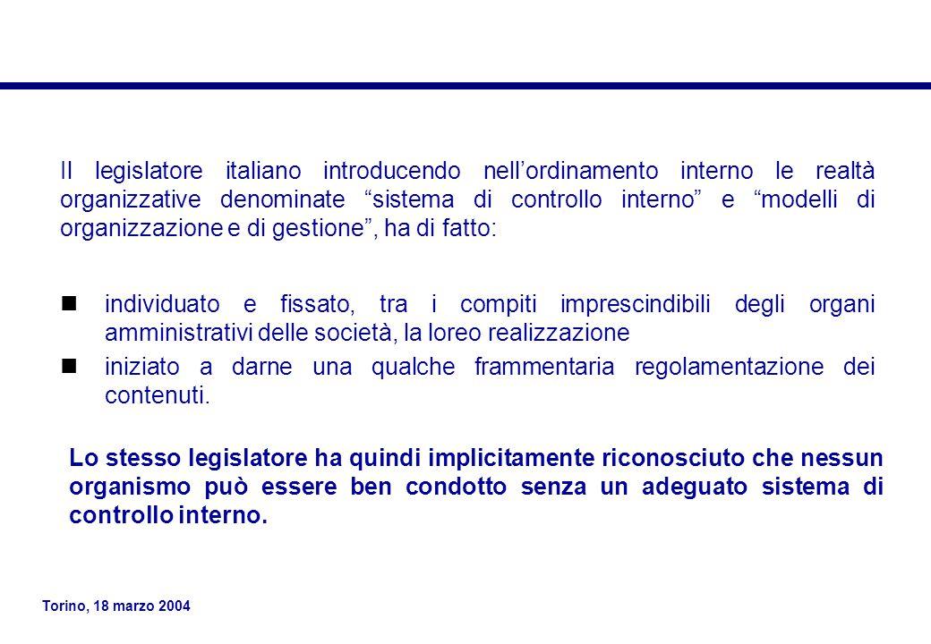 Torino, 18 marzo 2004 Esiste un rapporto diretto tra gli obiettivi, ossia ciò che un'azienda persegue, ed i componenti, ovvero ciò che occorre per realizzarli, secondo un legame tridimensionale: per ciascuna unità operativa e per ciascun processo aziendale (asse X), i cinque componenti del sistema di controllo interno (asse Y) intersecano le tre categorie di obiettivi (asse Z).