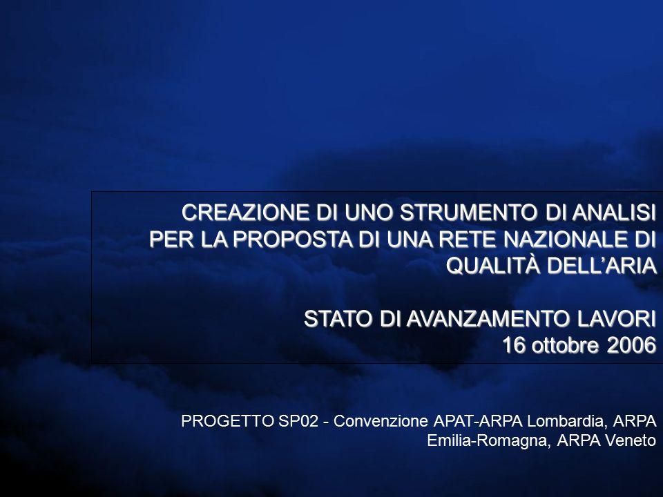CREAZIONE DI UNO STRUMENTO DI ANALISI PER LA PROPOSTA DI UNA RETE NAZIONALE DI QUALITÀ DELL'ARIA STATO DI AVANZAMENTO LAVORI 16 ottobre 2006 PROGETTO SP02 - Convenzione APAT-ARPA Lombardia, ARPA Emilia-Romagna, ARPA Veneto