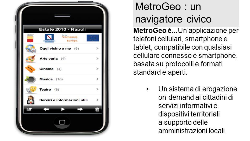 MetroGeo : un navigatore civico MetroGeo è...Un'applicazione per telefoni cellulari, smartphone e tablet, compatibile con qualsiasi cellulare connesso e smartphone, basata su protocolli e formati standard e aperti.