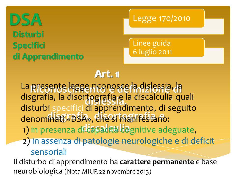 DSA Dislessia (lettura) Disgrafia Disortografia (scrittura) Discalculia (calcolo) Questi disturbi possono anche manifestarsi insieme (comorbilità)