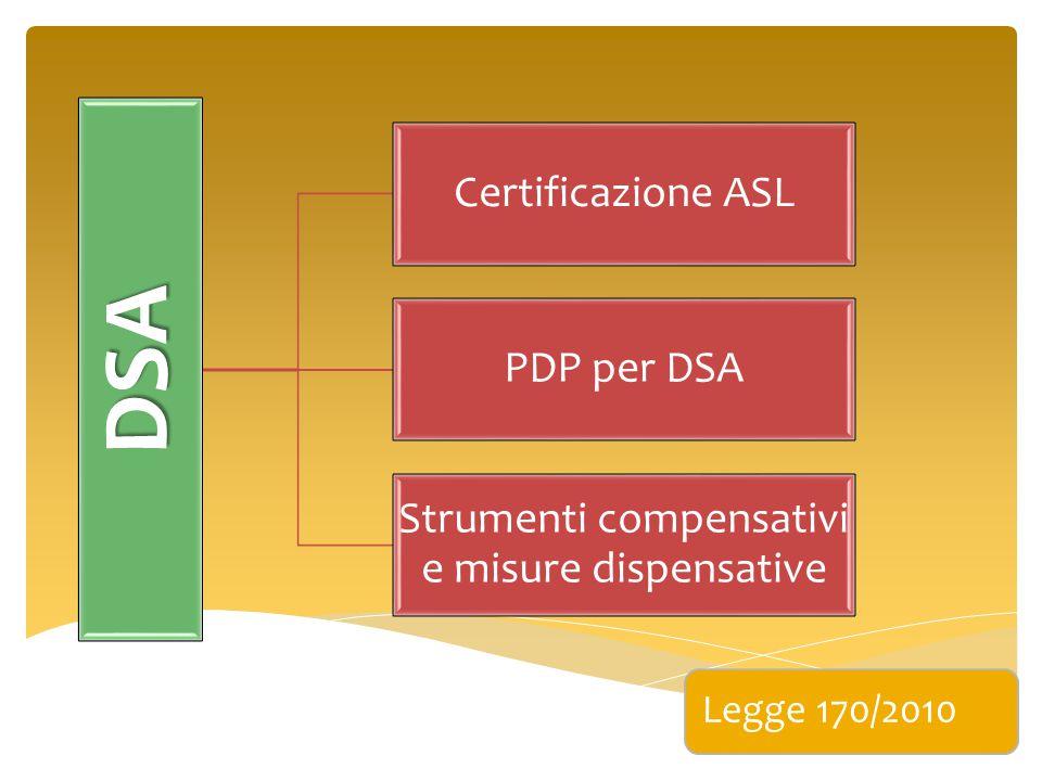 DSA Certificazione ASL PDP per DSA Strumenti compensativi e misure dispensative Legge 170/2010