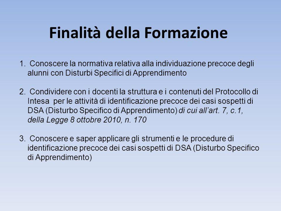 Finalità della Formazione 1. Conoscere la normativa relativa alla individuazione precoce degli alunni con Disturbi Specifici di Apprendimento 2. Condi
