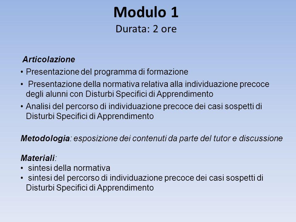 Modulo 1 Durata: 2 ore Articolazione Presentazione del programma di formazione Presentazione della normativa relativa alla individuazione precoce degl