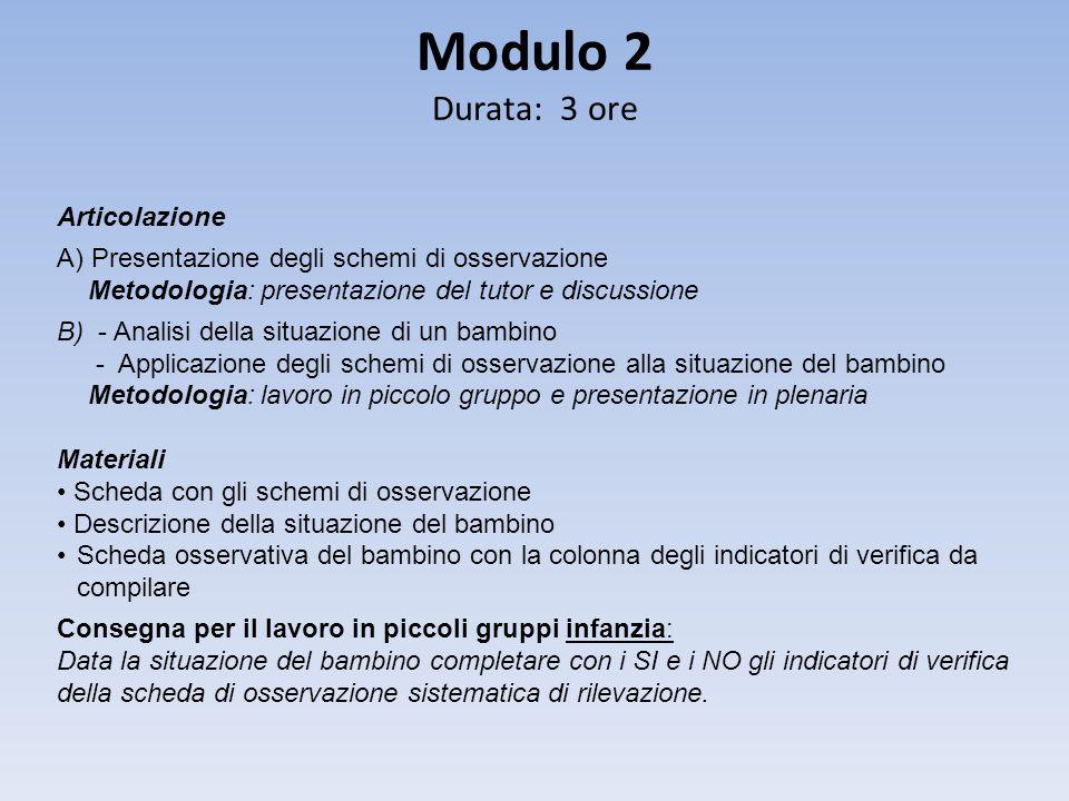 Modulo 2 Durata: 3 ore Articolazione A) Presentazione degli schemi di osservazione Metodologia: presentazione del tutor e discussione B) - Analisi del