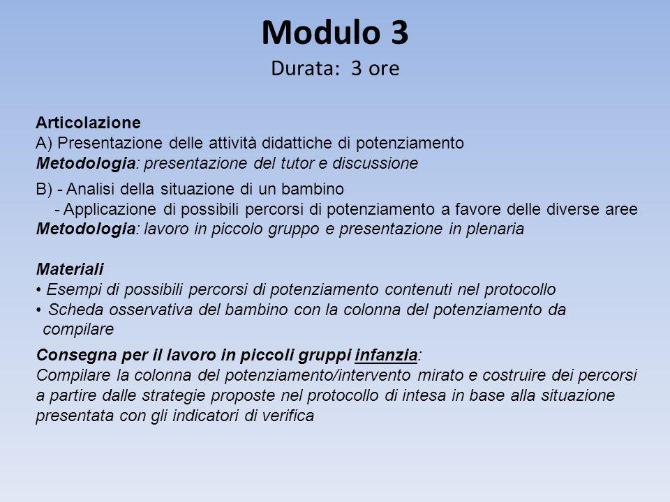 Modulo 3 Durata: 3 ore Articolazione A) Presentazione delle attività didattiche di potenziamento Metodologia: presentazione del tutor e discussione B)