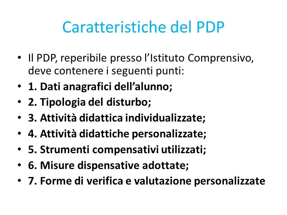 Caratteristiche del PDP Il PDP, reperibile presso l'Istituto Comprensivo, deve contenere i seguenti punti: 1. Dati anagrafici dell'alunno; 2. Tipologi