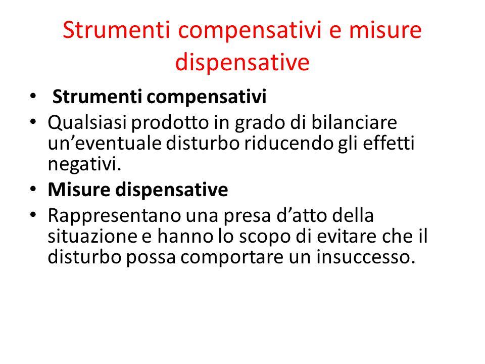 Strumenti compensativi e misure dispensative Strumenti compensativi Qualsiasi prodotto in grado di bilanciare un'eventuale disturbo riducendo gli effetti negativi.