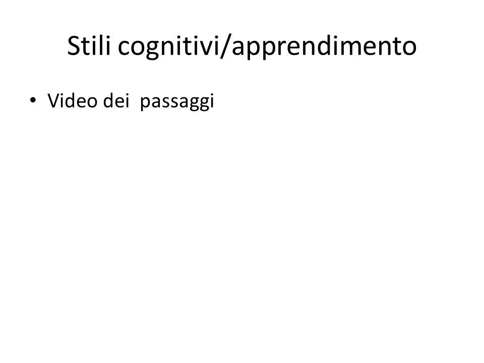 Stili cognitivi/apprendimento Video dei passaggi