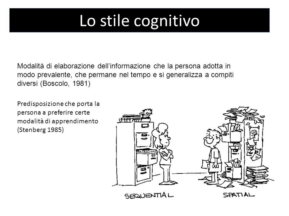 Lo stile cognitivo Modalità di elaborazione dell'informazione che la persona adotta in modo prevalente, che permane nel tempo e si generalizza a compiti diversi (Boscolo, 1981) Predisposizione che porta la persona a preferire certe modalità di apprendimento (Stenberg 1985)
