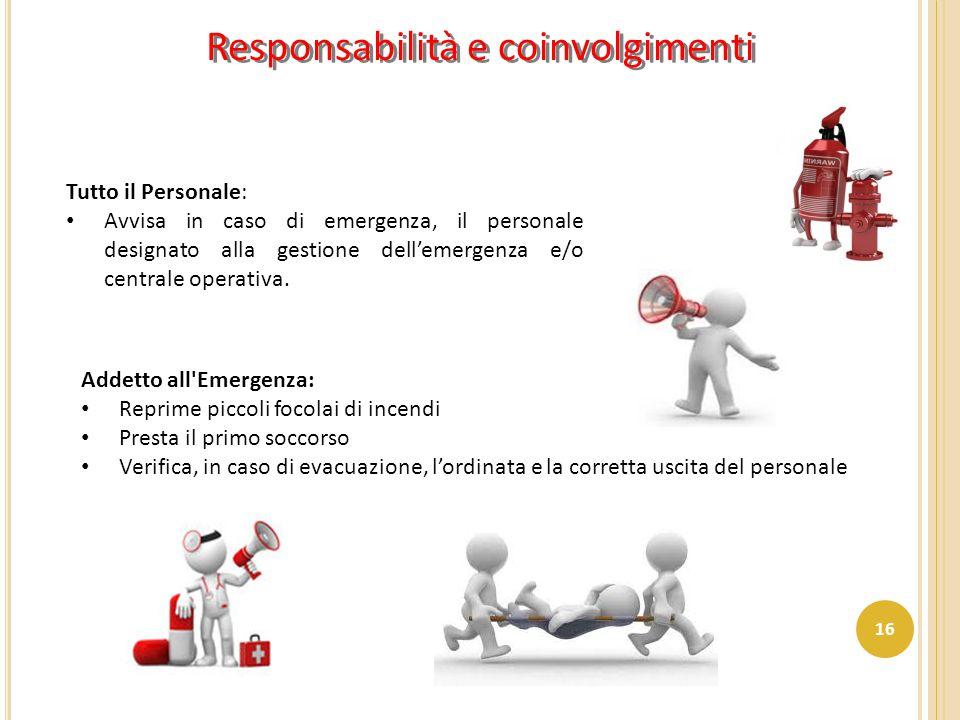 Tutto il Personale: Avvisa in caso di emergenza, il personale designato alla gestione dell'emergenza e/o centrale operativa. Addetto all'Emergenza: Re