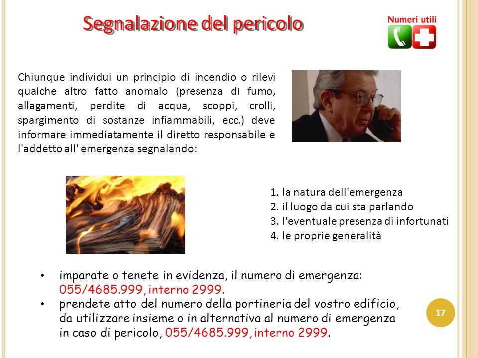 Chiunque individui un principio di incendio o rilevi qualche altro fatto anomalo (presenza di fumo, allagamenti, perdite di acqua, scoppi, crolli, spa