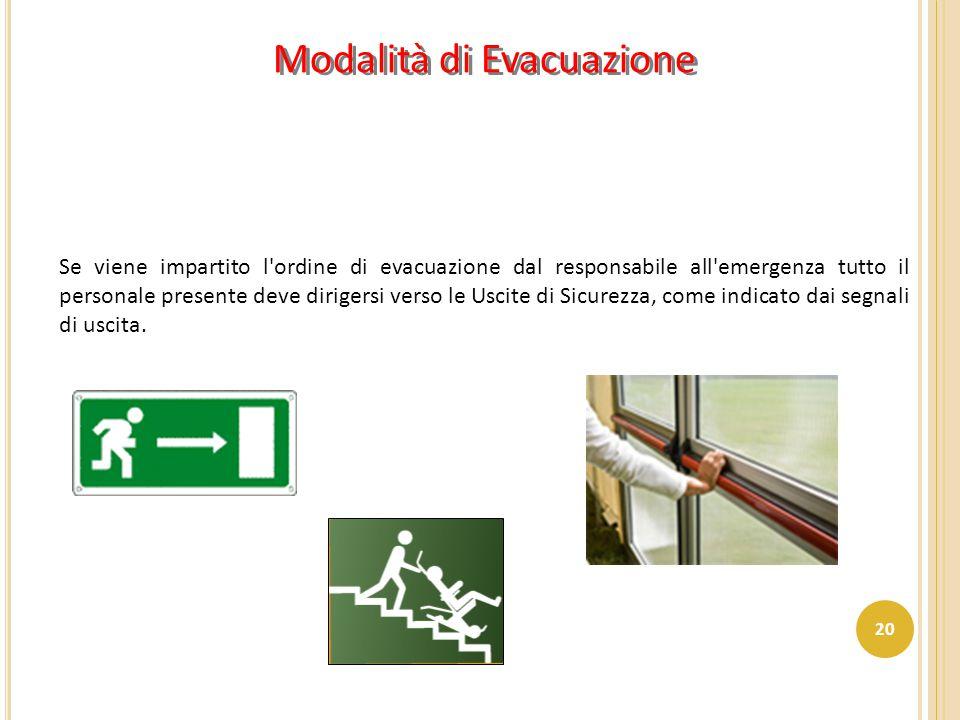 Modalità di Evacuazione Se viene impartito l'ordine di evacuazione dal responsabile all'emergenza tutto il personale presente deve dirigersi verso le