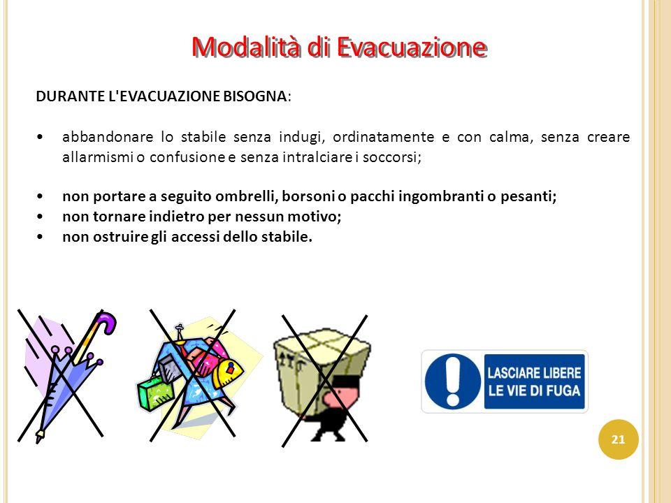 Modalità di Evacuazione DURANTE L'EVACUAZIONE BISOGNA: abbandonare lo stabile senza indugi, ordinatamente e con calma, senza creare allarmismi o confu