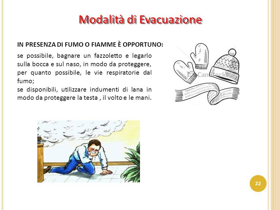 Modalità di Evacuazione IN PRESENZA DI FUMO O FIAMME È OPPORTUNO: se possibile, bagnare un fazzoletto e legarlo sulla bocca e sul naso, in modo da pro