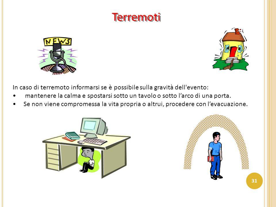 Terremoti In caso di terremoto informarsi se è possibile sulla gravità dell'evento: mantenere la calma e spostarsi sotto un tavolo o sotto l'arco di u