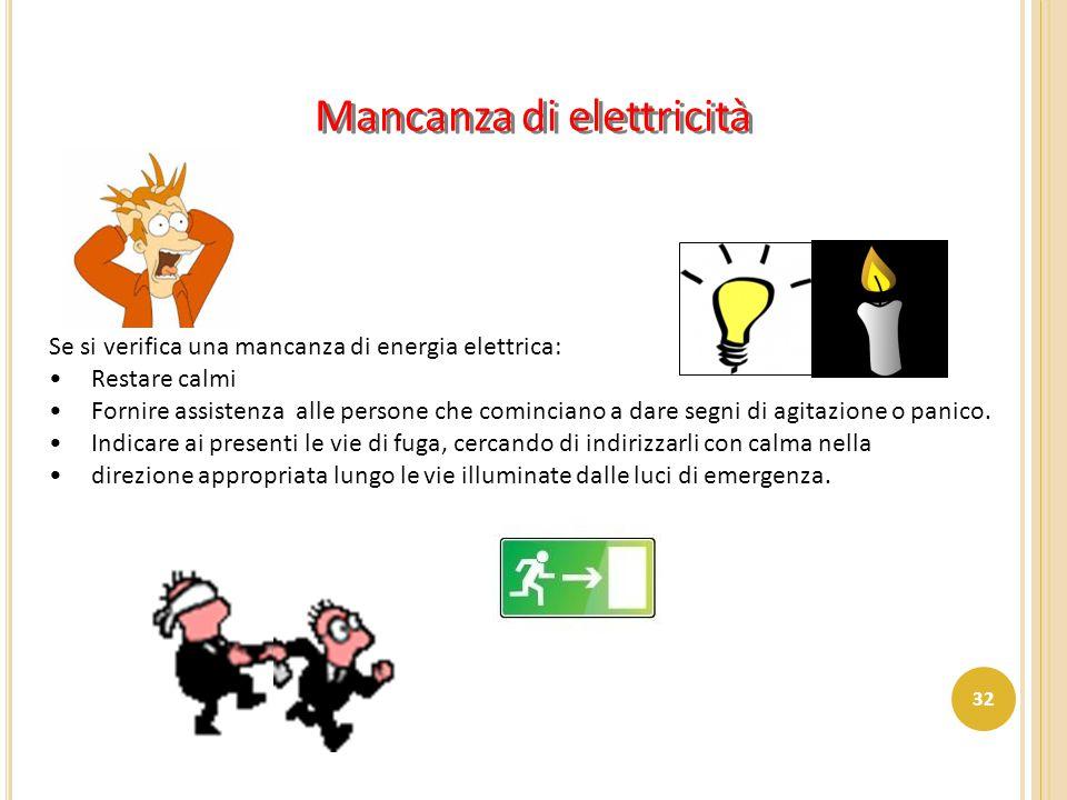 Mancanza di elettricità Se si verifica una mancanza di energia elettrica: Restare calmi Fornire assistenza alle persone che cominciano a dare segni di
