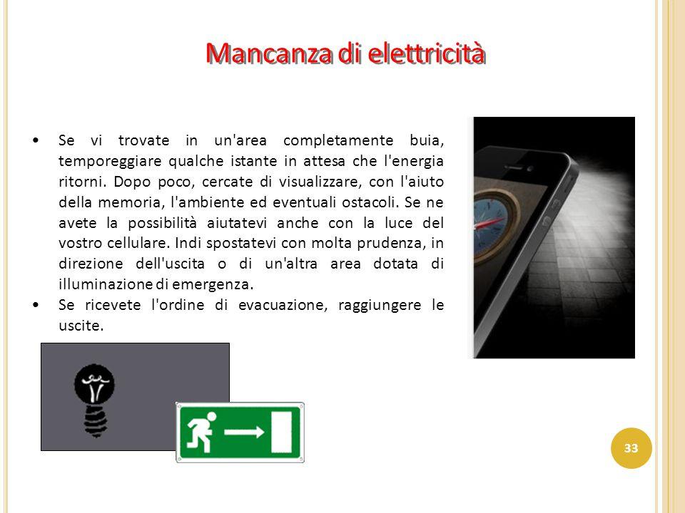 Mancanza di elettricità Se vi trovate in un'area completamente buia, temporeggiare qualche istante in attesa che l'energia ritorni. Dopo poco, cercate