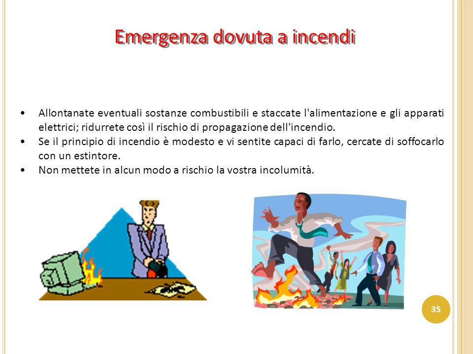 Emergenza dovuta a incendi Allontanate eventuali sostanze combustibili e staccate l'alimentazione e gli apparati elettrici; ridurrete così il rischio