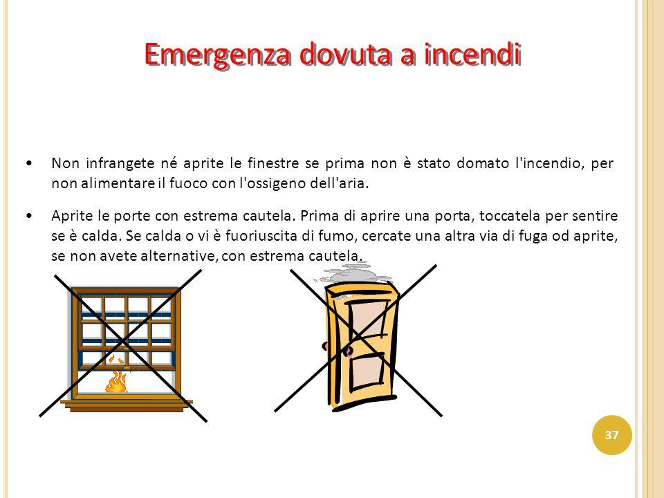 Emergenza dovuta a incendi Non infrangete né aprite le finestre se prima non è stato domato l'incendio, per non alimentare il fuoco con l'ossigeno del