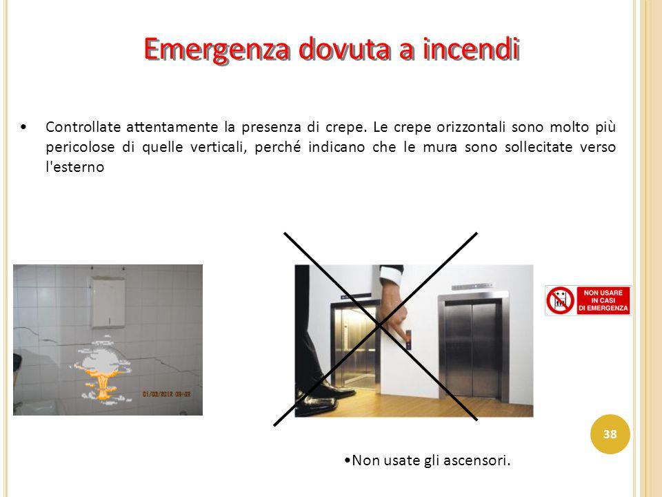 Emergenza dovuta a incendi Controllate attentamente la presenza di crepe. Le crepe orizzontali sono molto più pericolose di quelle verticali, perché i