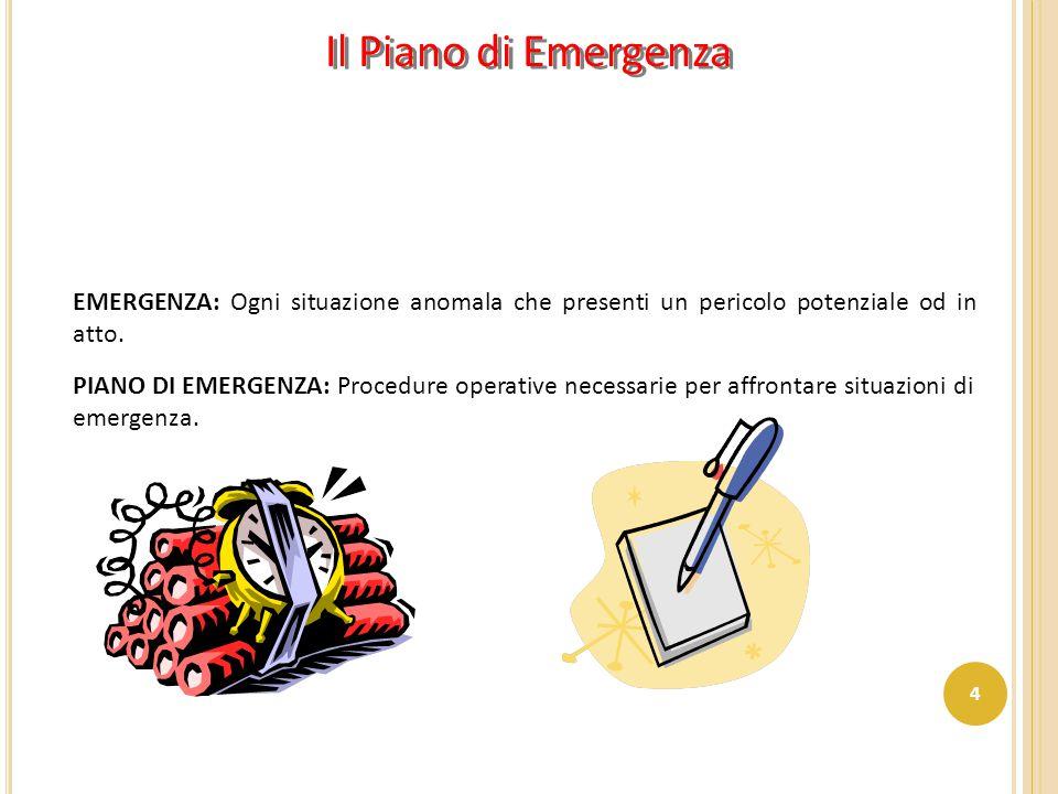 EMERGENZA: Ogni situazione anomala che presenti un pericolo potenziale od in atto. PIANO DI EMERGENZA: Procedure operative necessarie per affrontare s