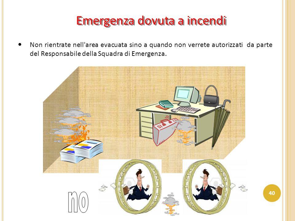Emergenza dovuta a incendi  Non rientrate nell'area evacuata sino a quando non verrete autorizzati da parte del Responsabile della Squadra di Emergen