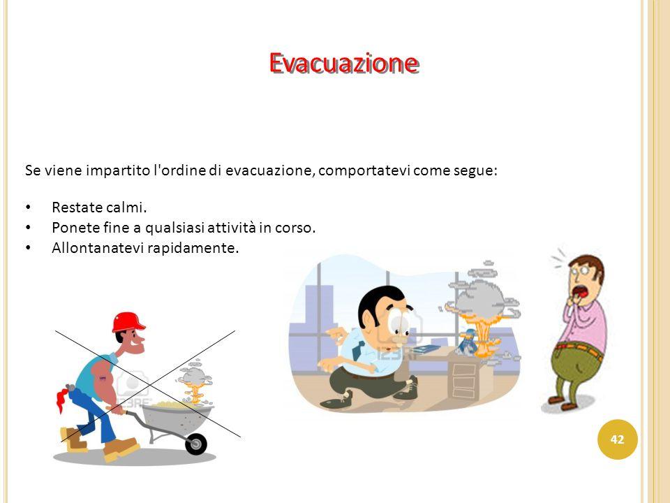 Evacuazione Se viene impartito l'ordine di evacuazione, comportatevi come segue: Restate calmi. Ponete fine a qualsiasi attività in corso. Allontanate