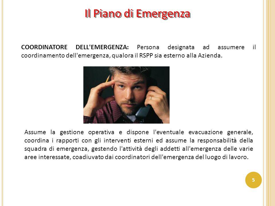 COORDINATORE DELL'EMERGENZA: Persona designata ad assumere il coordinamento dell'emergenza, qualora il RSPP sia esterno alla Azienda. Assume la gestio