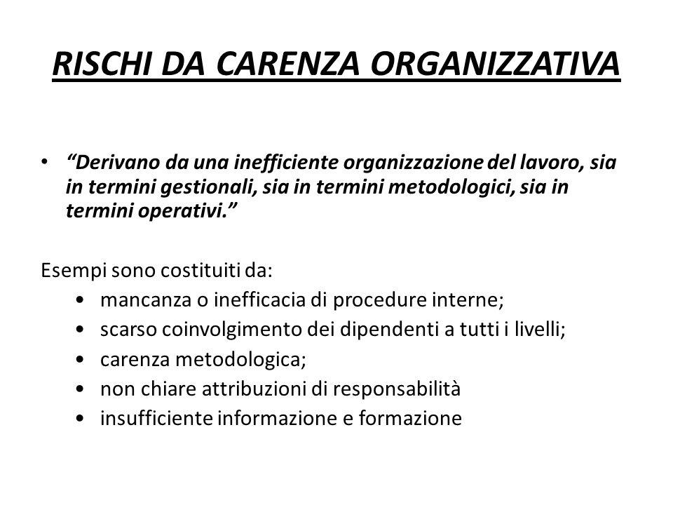"""RISCHI DA CARENZA ORGANIZZATIVA """"Derivano da una inefficiente organizzazione del lavoro, sia in termini gestionali, sia in termini metodologici, sia i"""