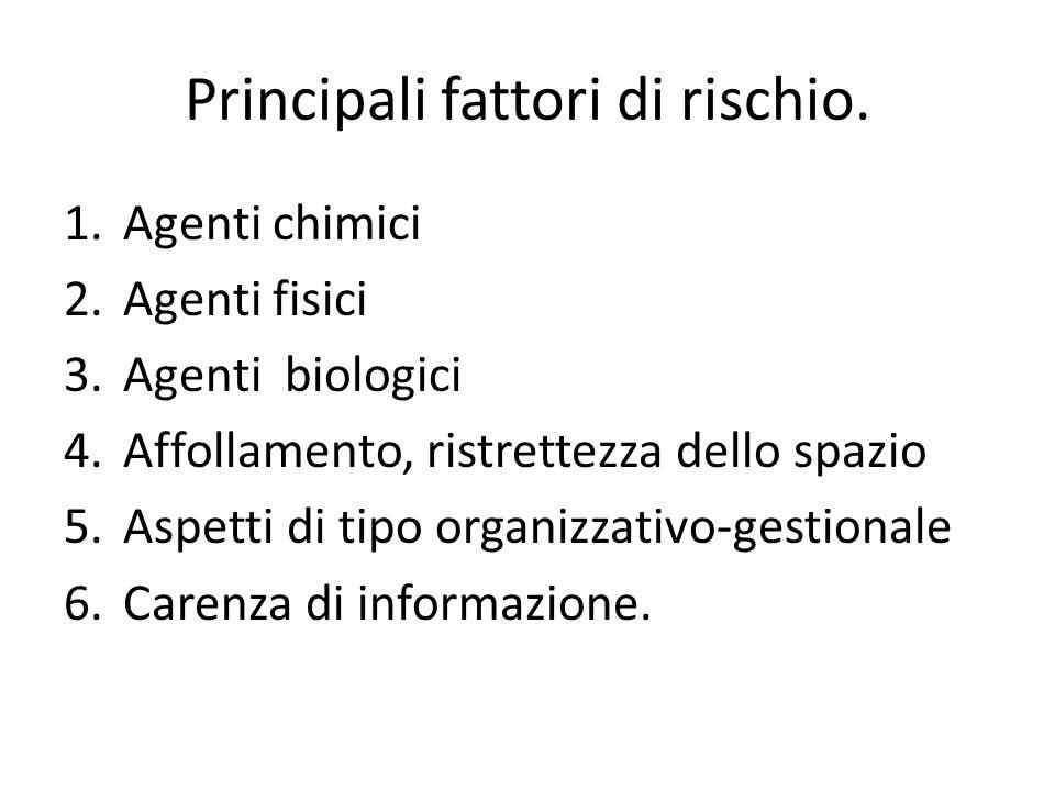 Principali fattori di rischio. 1.Agenti chimici 2.Agenti fisici 3.Agenti biologici 4.Affollamento, ristrettezza dello spazio 5.Aspetti di tipo organiz