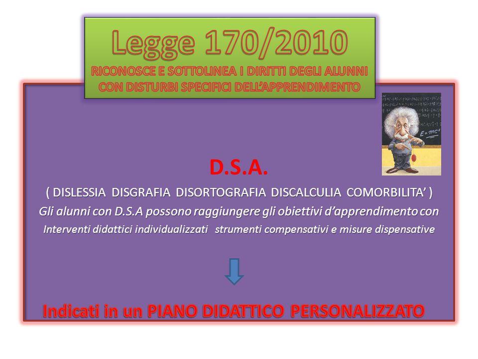 D.S.A. ( DISLESSIA DISGRAFIA DISORTOGRAFIA DISCALCULIA COMORBILITA' ) Gli alunni con D.S.A possono raggiungere gli obiettivi d'apprendimento con Inter